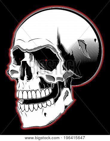 Cartoon angry skull in tattoo style on black background