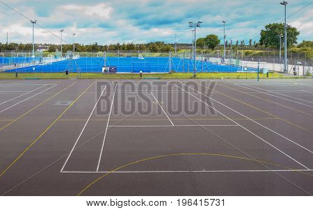 Essex England UK -June 12 2017:Empty tennis court netball and football pitches.