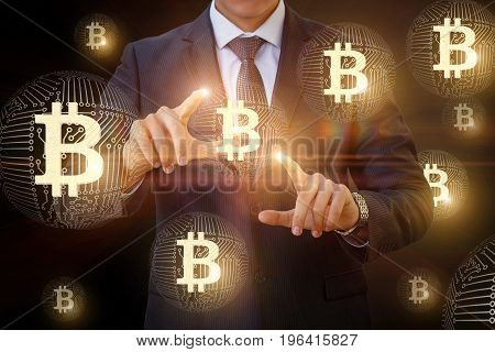 Businessman Touches Of The Bitcoin In Network.