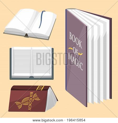 Colorful book vector illustration learn literature study opened closed education knowledge document textbook. Learning page university text reading encyclopedia.