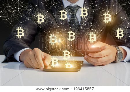 Businessman Running With Bitcoin On Your Phone And Tablet.