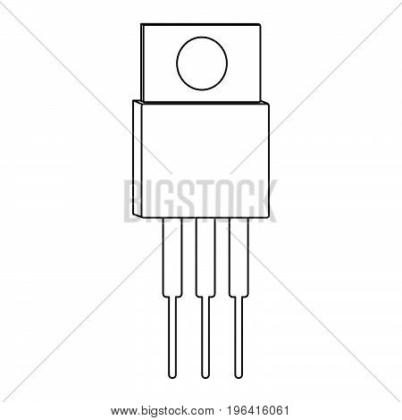 Transistor outline icon and sign. Vector illustration.