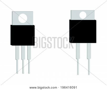 Transistor isometric icon and sign. Vector illustration.