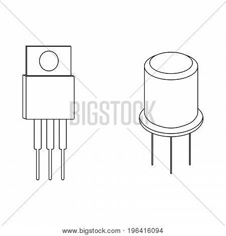 Transistor outline icons and signs. Vector illustration.