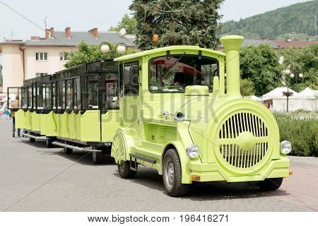 Tourist tram train for trips to places of interest and around the city
