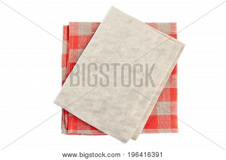 Stack of two folded textile napkins isolated on white background