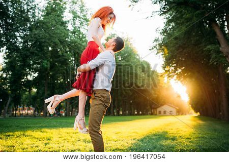 Romantic date, embracing of love couple
