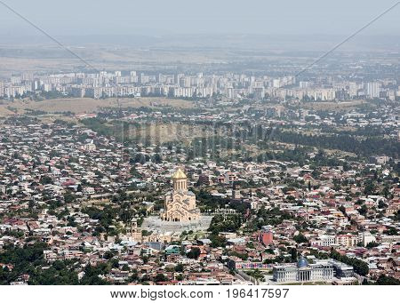 Aerial Skyline With The Holy Trinity Cathedral Of Tbilis