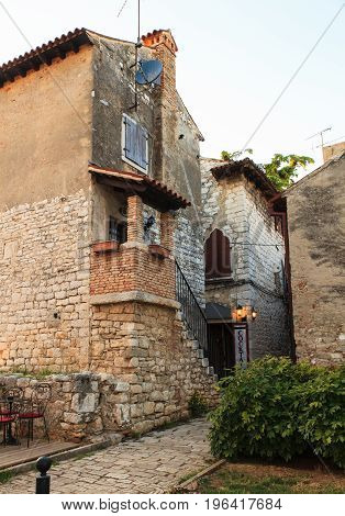 View of old house in Porec Istria. Croatia
