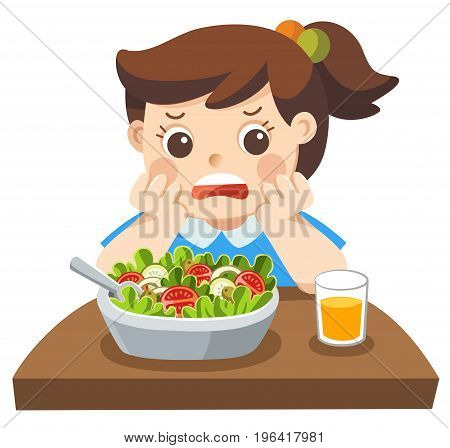 Isolated vector. Unhappy girl doesn't want eat healthy vegetables.