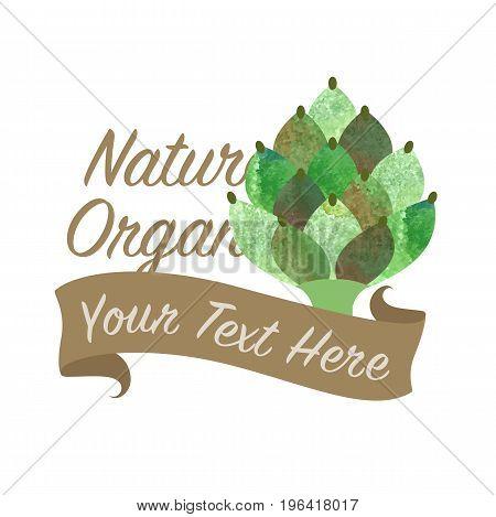 Colorful Watercolor Texture Vector Nature Organic Vegetable Banner Artichoke
