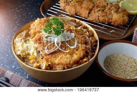 Katsudon Or Japanese Style Fried Pork Roast .