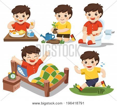 Isolated vector. The daily routine of a cute boy on a white background. [wake up eat sitting on the toilet running plant a tree]