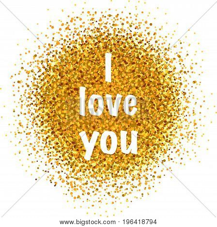 I love you vector card with a golden glitter