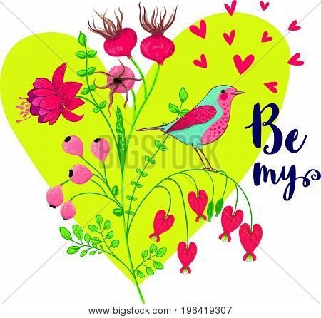 Vector illustration of a bird and a blooming branch. Floral background with a heart