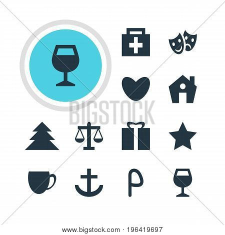 Vector Illustration Of 12 Location Icons. Editable Pack Of Jungle, Drugstore, Home And Other Elements.