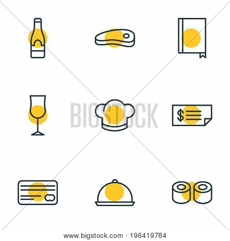 Editable Pack Of Wineglass, Card, Alcohol And Other Elements. Vector Illustration Of 9 Eating Icons.