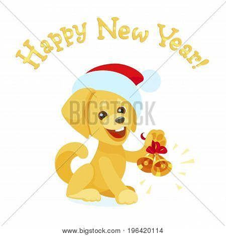 A golden labrador retriever in a Santa Claus cap rings the Jingle Bells. A cheerful yellow puppy of the most popular breed like a New Year symbol of 2018 in the Chinese Zodiac. Flat isolated cartoon.