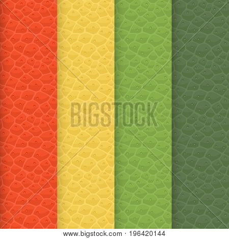 Vector set of seamless leather textures. Pure realistic patterns painted in shades of the 'Spring Colors 2017' which have forecast by Pantone. Here is a Flame, Primrose Yellow, Greenery, Kale tints.