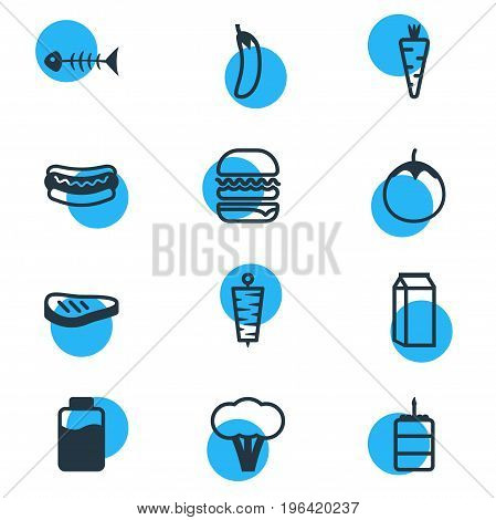 Vector Illustration Of 12 Food Icons. Editable Pack Of Streetfood, Eggplant, Doner And Other Elements.