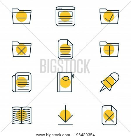 Editable Pack Of Deleting Folder, Remove, Textbook And Other Elements. Vector Illustration Of 12 Workplace Icons.