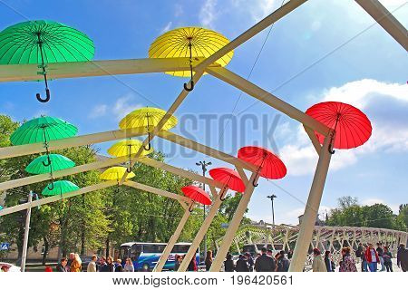KYIV, UKRAINE - MAY 01, 2017: Bright umbrellas decoration in fan zone for international song competition Eurovision-2017 on Sofia square in Kyiv