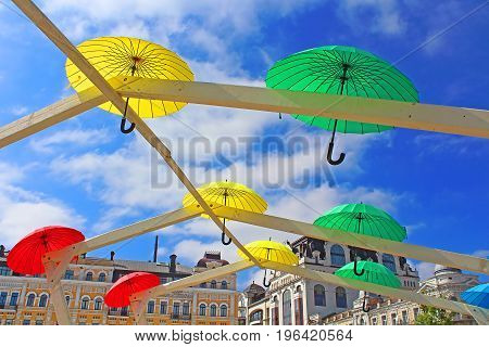 KYIV, UKRAINE - MAY 01. 2017: Bright umbrellas decoration in fan zone for international song competition Eurovision-2017 on Sofia square