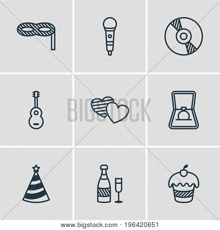 Editable Pack Of Musical Instrument, Cap, Soul And Other Elements. Vector Illustration Of 9 Banquet Icons.