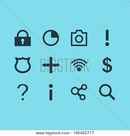 Vector Illustration Of 12 Interface Icons. Editable Pack Of Magnifier, Publish, Help And Other Elements.