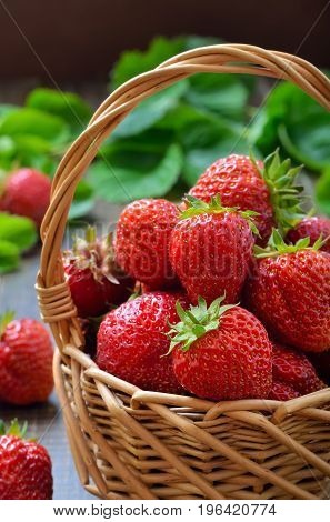 Fresh strawberries in the wicker basket on wooden table