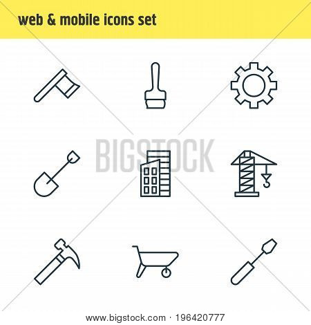 Editable Pack Of Cogwheel, Hatchet, Handle Hit Elements. Vector Illustration Of 9 Structure Icons.