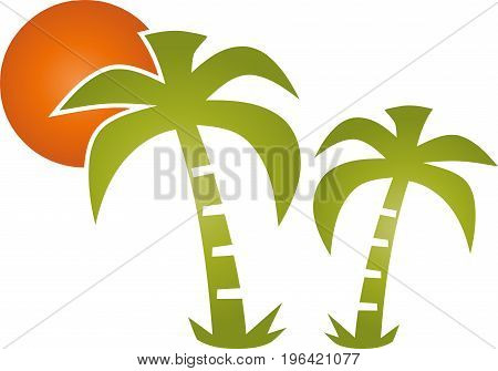 Two palm trees and sun, turism and travel logo