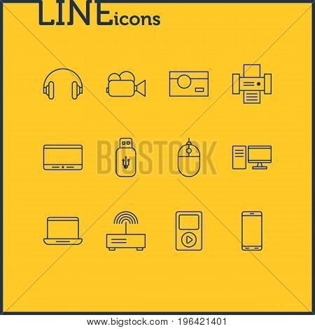 Editable Pack Of Usb Card, Photocopier, Modem And Other Elements. Vector Illustration Of 12 Technology Icons.