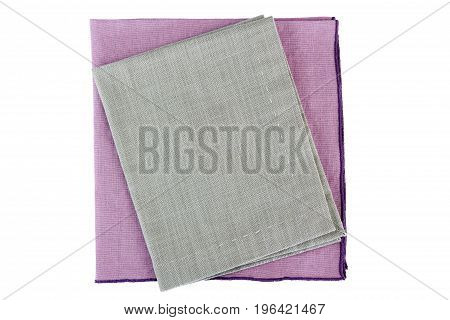 Purple and gray textile napkins isolated on white background