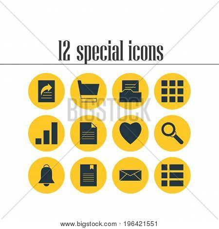Vector Illustration Of 12 Web Icons. Editable Pack Of Magnifier, Document Transfer, Document And Other Elements.