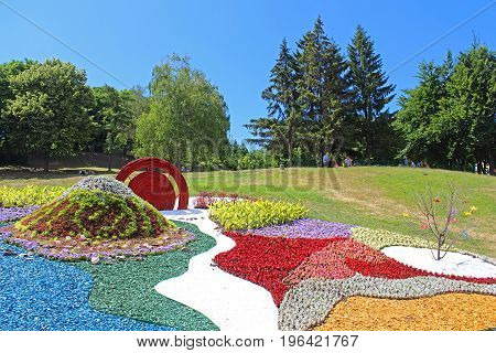 KYIV, UKRAINE - JUNE 10, 2017: Flower exhibition