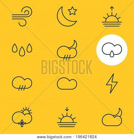 Vector Illustration Of 12 Atmosphere Icons. Editable Pack Of Sunset, Drip, Cloud And Other Elements.