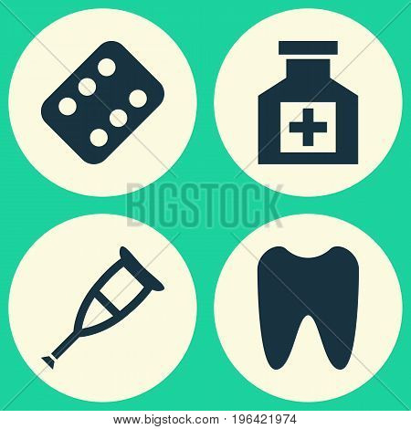 Antibiotic Icons Set. Collection Of Spike, Painkiller, Remedy And Other Elements
