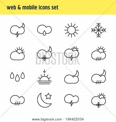 Vector Illustration Of 16 Sky Icons. Editable Pack Of Drizzles, Weather, Crescent And Other Elements.