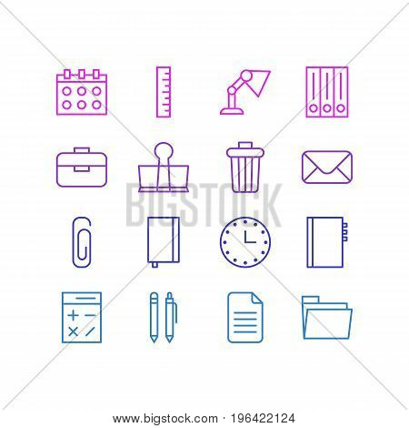Editable Pack Of Binder Clip, Watch, Folder And Other Elements. Vector Illustration Of 16 Tools Icons.