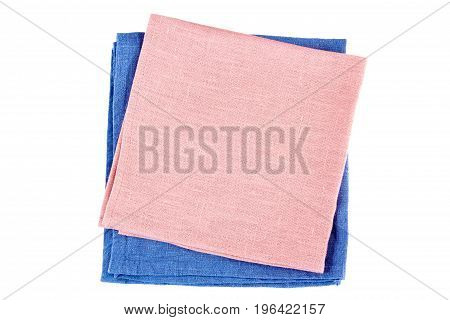 Blue and pink textile napkins isolated on white background