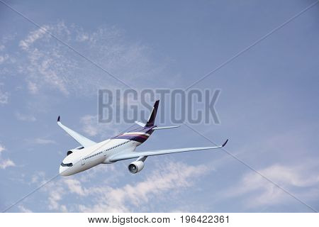 Airplane flying in the air. Passenger airplane in the clouds. travel by airplane. Commercial airplane flying in the sky.