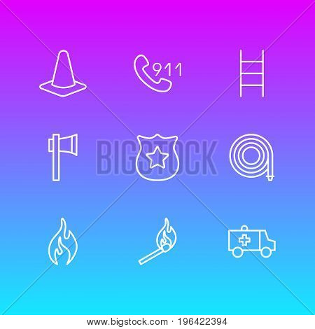 Vector Illustration Of 9 Necessity Icons. Editable Pack Of Taper, Hosepipe, Stairs And Other Elements.