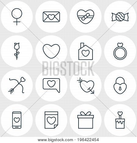 Vector Illustration Of 16 Amour Icons. Editable Pack Of Candle , Cupid, Messenger Elements.