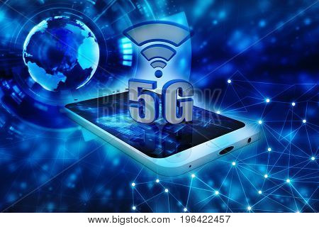 Mobile telecommunication cellular high speed data connection business concept: 3D render of blue metallic 5G wireless communication technology symbol, icon or button on smartphone