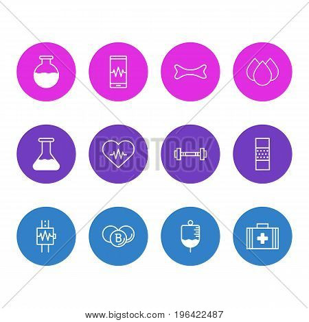 Vector Illustration Of 12 Medicine Icons. Editable Pack Of Medical Bag , Trickle, Band Aid Elements.
