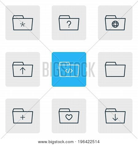 Editable Pack Of Question, Dossier, Significant And Other Elements. Vector Illustration Of 9 Dossier Icons.