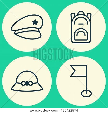 Travel Icons Set. Collection Of Rucksack, Woman Cap, Ensign And Other Elements