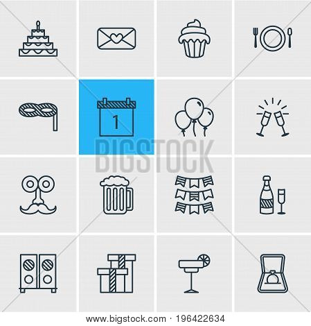 Editable Pack Of Martini, Decoration, Goblet And Other Elements. Vector Illustration Of 16 Banquet Icons.