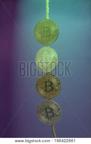 Four virtual coins bitcoins collection . E-business concept .